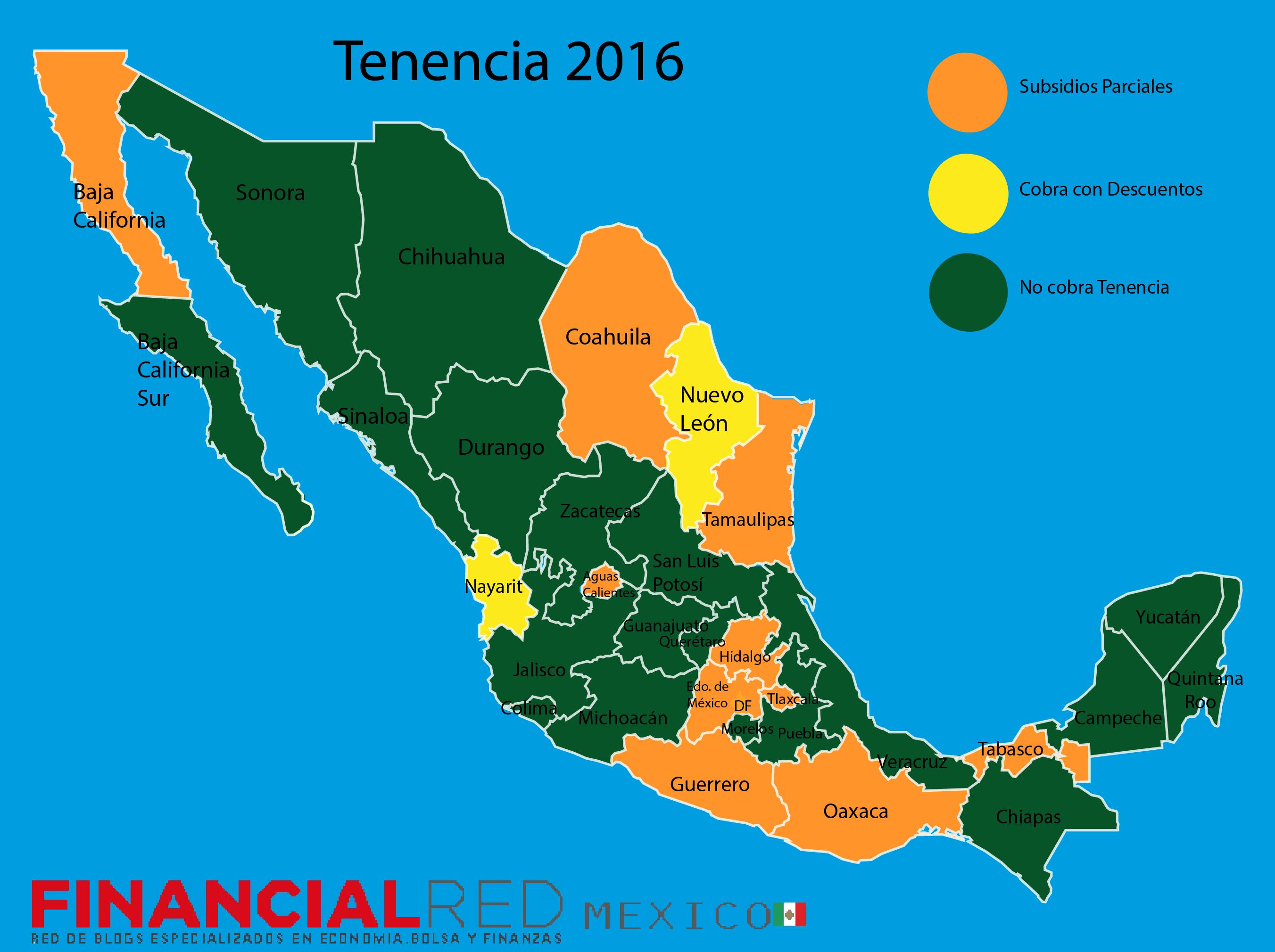 Mapa Tenencia 2016 en México
