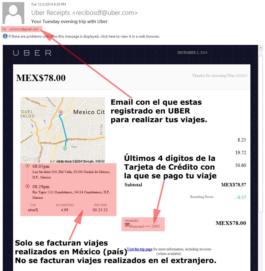ejemplo factura uber