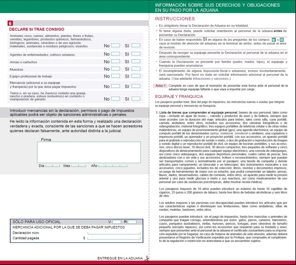 formato declaracion aduanas 2