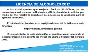 Pre-registro de Licencia de Alcoholes Tamaulipas 2017