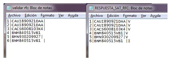 respuesta validar rfc